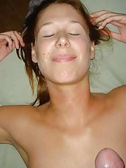 Picture collection of an amateur sexy honey who gets cum facial