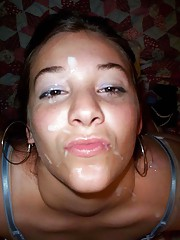 Photo collection of amateur babes who got facialed
