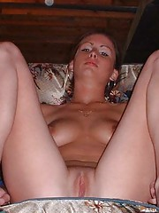 Photo gallery of an amateur Latina GF showing her cunt and tits