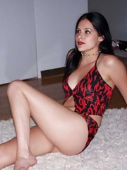 Photo compilation of a gorgeous Latina in red lingerie
