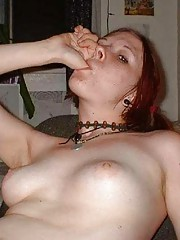 Picture collection of an amateur skanky kinky scene babe spreading