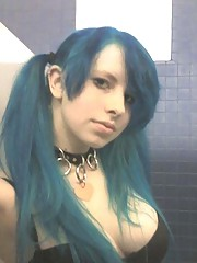Picture selection of a steamy hot big-tittied punk chick