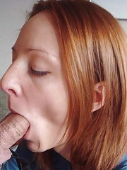 Picture collection of a kinky GF sucking on a stiff cock