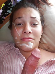 Cutest teen jerks and gets a cummy face
