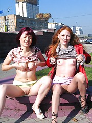 Two sluts air tits and cunts in public