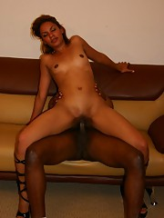 Petite ebony babe sucks black cock and gets her holes jammed tight with cock