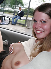 Teen whore shows pussy in her car at the parking