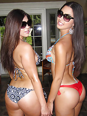2 fucking super hot big ass latinas get their string bikinis ripped off and fucked poolside