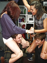 College students get hot and wild at the dorm room girls start getting nude and watch her ass get banged