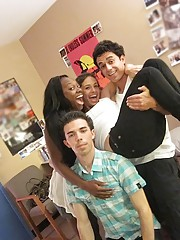 2 hot naked college teens jerk off a guy then suck and get fucked in these hot real party dorm room sex pics