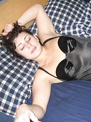 Hot sexy wife posing in her black lingerie