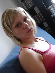 Collection of a slim blonde wife posing at home
