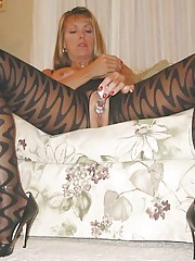 Sexy horny kinky blonde wife posing in naughty lingerie