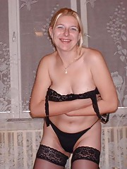 Hot horny blonde MILF lingerie strip and anal sex