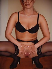 Sizzling hot sexy MILF spreads for her hubby
