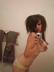 Picture collection of an amateur kinky chick showing her big round tits