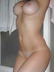 Picture collection of an amateur sexy petite babe showing her big round tits