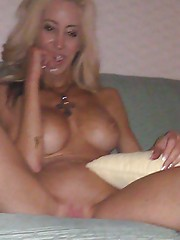 Picture collection of an amateur hardcore babe dildoing her pierced cunt
