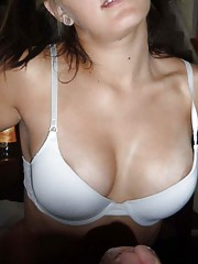 Picture collection of an amateur kinky bitch who gets cum on her breasts