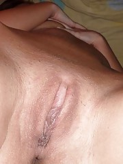 Picture collection of an amateur skanky GF who gets cum on her ass