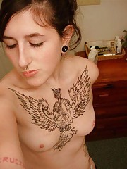 Steamy hot inked and pierced kinky amateur punk chick