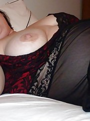 Horny plump girlfriend masturbating with assorted toys