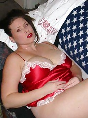 Voluptuous GF in red lingerie showing her assets