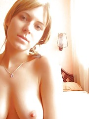 Naughty girlfriends show their tits and shaved pussy
