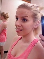 Self-shot non-nude pictures of a blonde teen slut