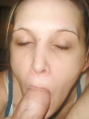 Horny amateur chick licking and sucking on a stiff dick