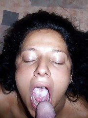 Wild babe who loves sucking on a boner and swallowing cum