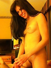 Pretty brunette sucking cock and fucking at the hotel