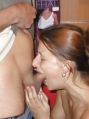 Picture compilation of an amateur naughty chick sucking on her boyfriend